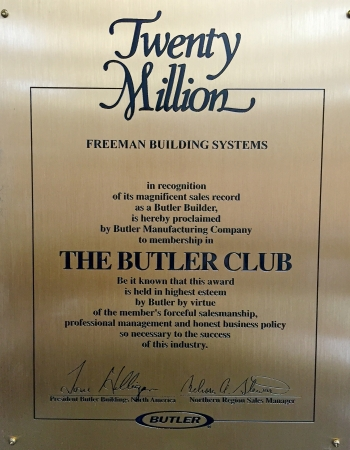 Butler 20 Million Dollar Award